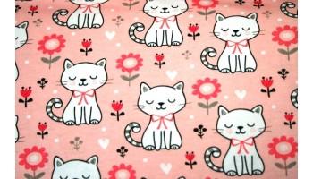 """10cm Stretchjersey """"Katzen auf Rosa""""       (Grundpreis € 18,00/m)"""