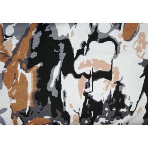 10cm Viscosejersey abstrakt gemustert braun-schwarz-weiss    (Grundpreis € 13,00/m)