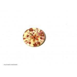 1 Stk Holzknopf Dm 30mm mit Blumendruck rost/terra/gelbgrün