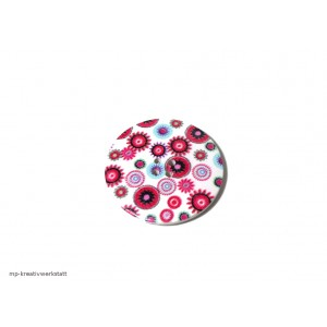 1 Stk Holzknopf Dm 40mm mit Blumendruck pink/hellblau