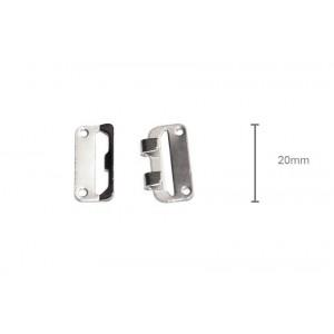1 Stk Hosenhaken/Rockhaken/Rockbundverschluss  groß (20mm hoch) silberfarben