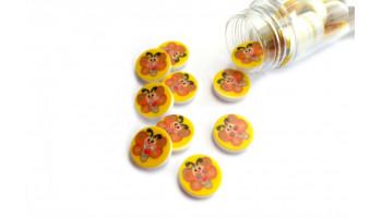 1 Stk Knopf Schmetterling auf Gelb Dm 13mm