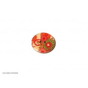 1 Stk Holzknopf Dm 30mm mit Blumendruck rot/grün/orange