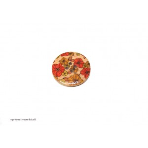1 Stk Holzknopf Dm 30mm mit Blumendruck orange/ocker/hellgrün