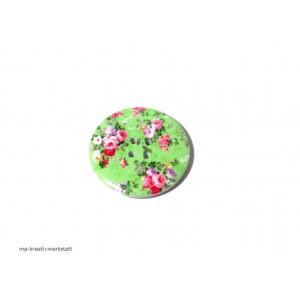 1 Stk Holzknopf Dm 40mm mit Blumendruck Rosen auf Grün