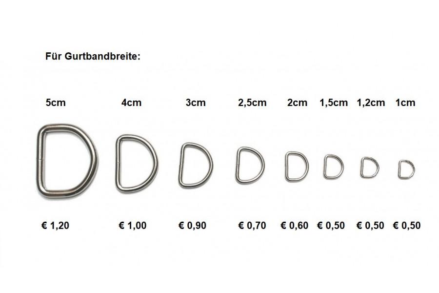 1 Stk Anleinring verschweißt für Halsbänder (oder Halbring / D-Ring für Taschen)  - Größenwahl