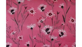 10cm Baumwollsatin bedruckt Blumenwiese auf Rosa  EU-Produktion  (Grundpreis € 21,00/m)