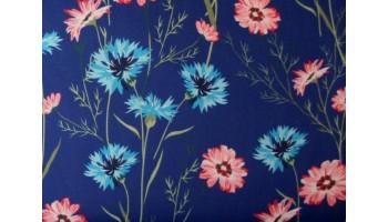 10cm Baumwollsatin bedruckt Blumenwiese auf Blau  EU-Produktion  (Grundpreis € 21,00/m)