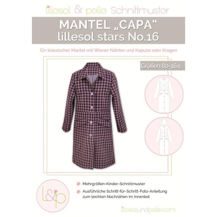 competitive price 0be78 1a1a1 Papierschnittmuster lillesol stars No.16 Mantel Capa Gr. 80 ...