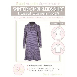 Papierschnittmuster lillesol women No.13 Winterkombi Kleid & Shirt Gr. 34 - 50