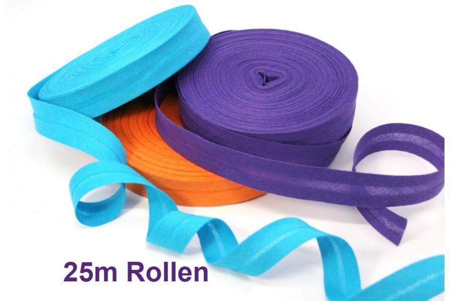 25m Rolle Schrägband Baumwolle gefalzt 20mm  (Grundpreis € 0,48/m)