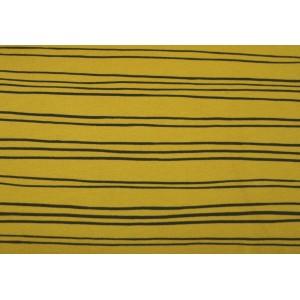 """10cm Kuschelsweat """"schwarze Linien""""  SENFGELB  (Grundpreis € 16,00/m)"""