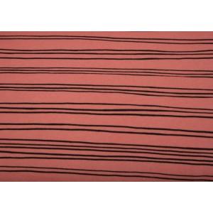 """10cm Kuschelsweat """"schwarze Linien""""  KORALLENROSA  (Grundpreis € 16,00/m)"""