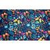 10cm Sweat - French Terry bedruckt Schmetterlinge und Blüten auf Dunkelblau  (Grundpreis € 17,00/m)