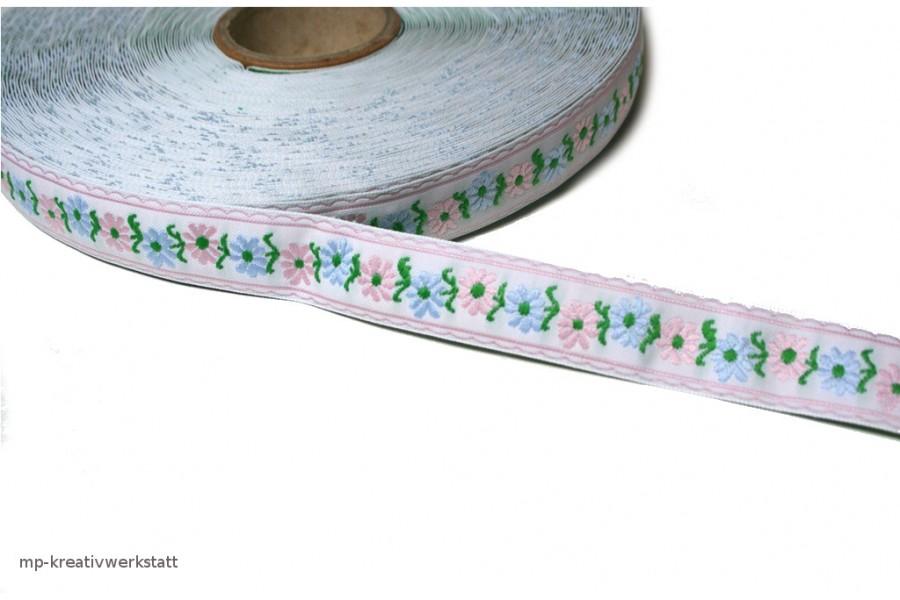 1m Bordüre 18mm rosa und hellblaue Blumen auf Weiss