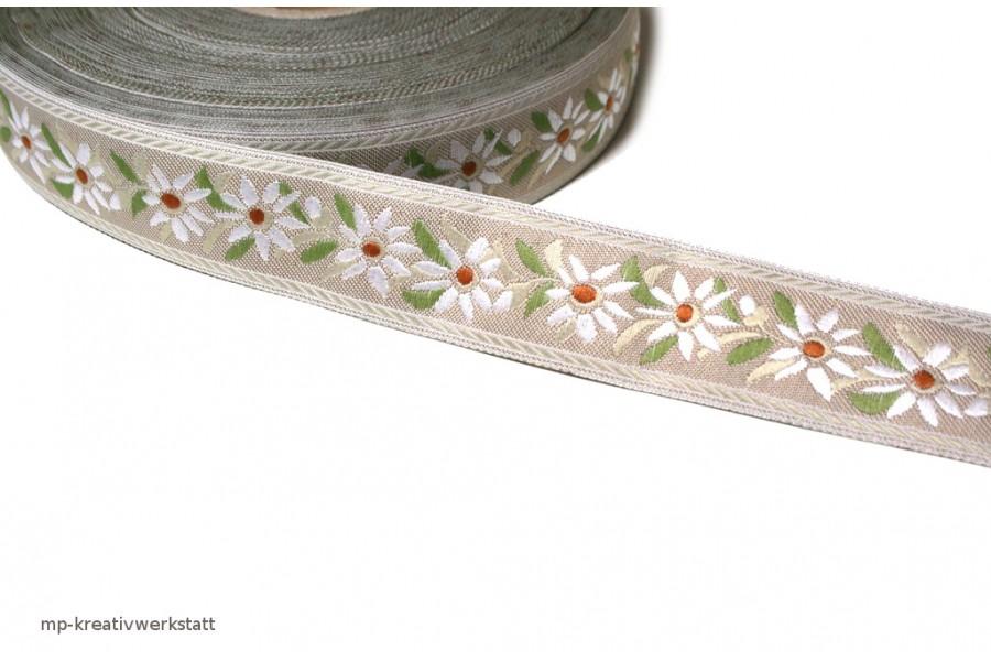 1m Bordüre 25mm Edelweiss auf Natur - RESTMENGEN zu ca 1 bis 2m am Stück
