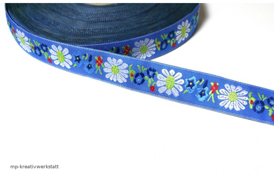 1m Bordüre 20mm Margariten auf Mittelblau