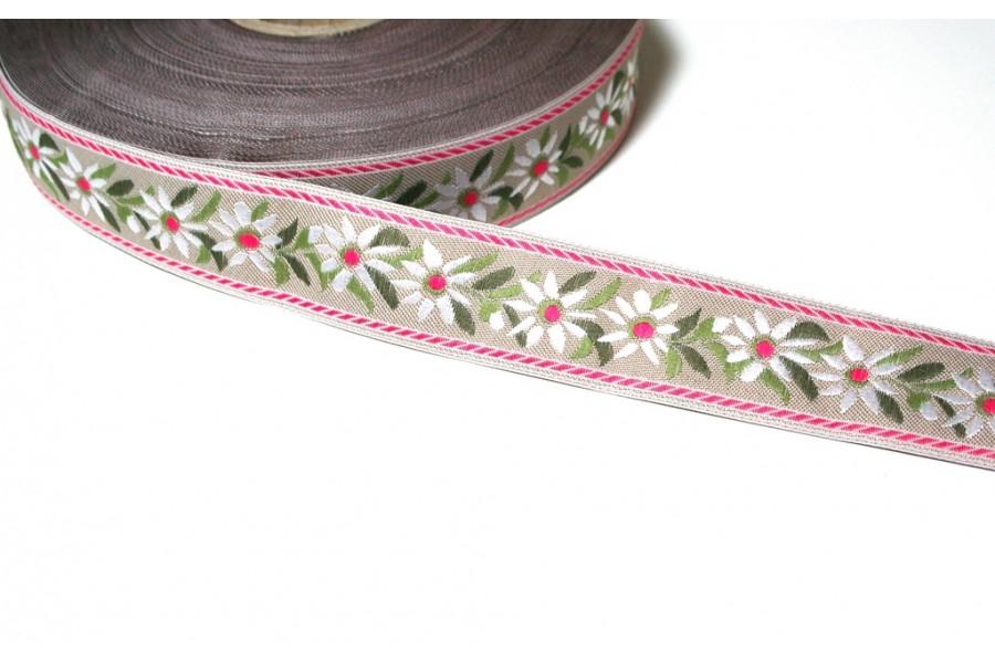 1m Bordüre 25mm Edelweiss auf Natur mit pinkem Rand