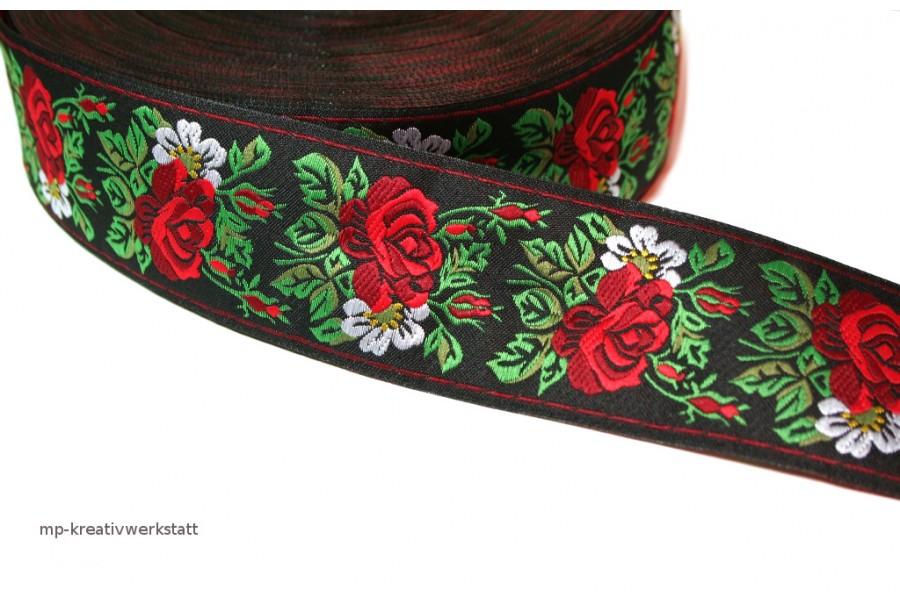 1m Bordüre 45mm Rosen auf Schwarz
