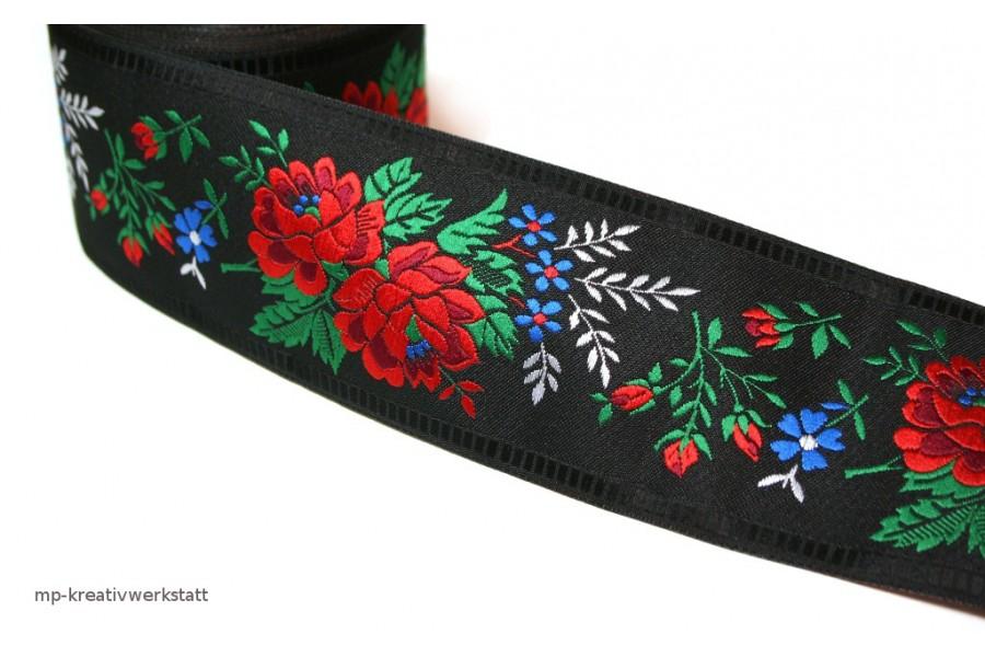 1m Bordüre 55mm rote Rosen auf Schwarz