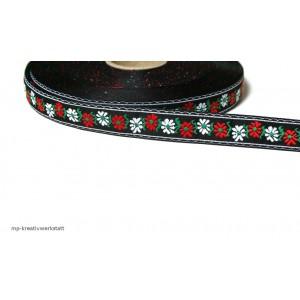 1m Bordüre 18mm rote und weiße Blumen auf Schwarz