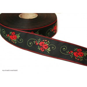 1m Bordüre 35mm Zarte Rosen auf Schwarz