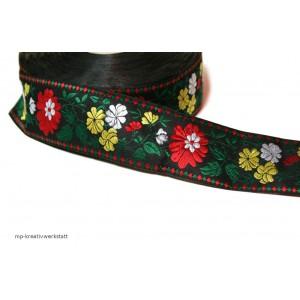 1m Bordüre 45mm Blumen rot-weiss-gelb auf Schwarz