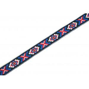 1m Webband Indianermuster BLAU 20mm breit