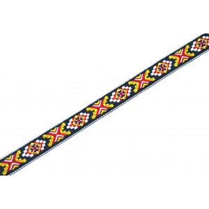1m Webband Indianermuster SCHWARZ 20mm breit