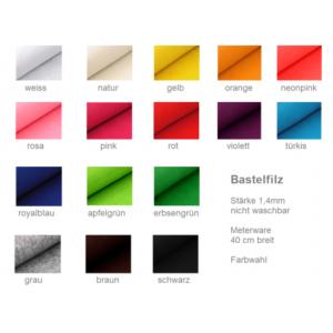 10cm Bastelfilz, Stärke 1,4mm - Farbwahl (Grundpreis € 3,00/m)